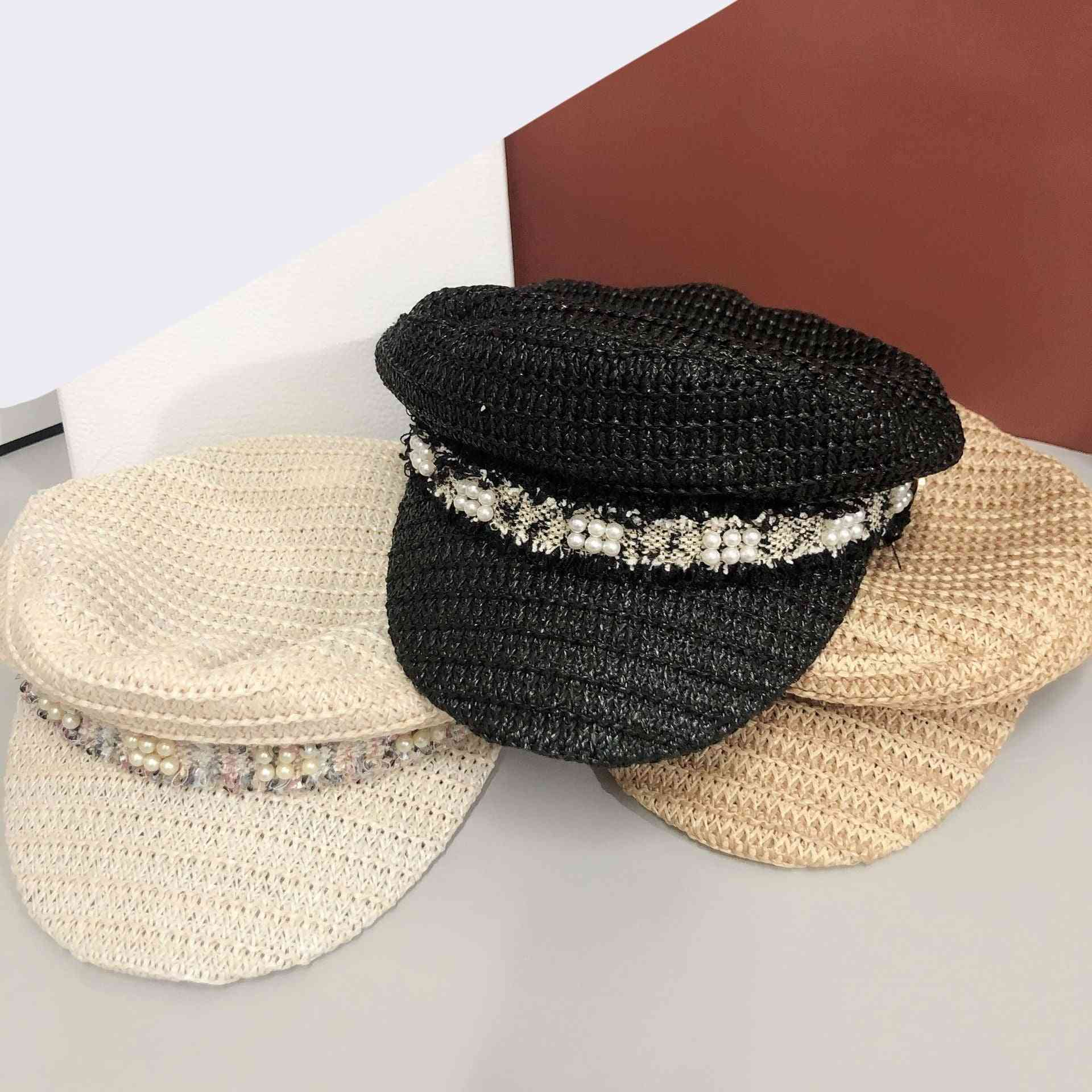 Straw Weaving Ventilation Pearl Ribbon Street Leisure Women Hat, Leisure Visors Cap