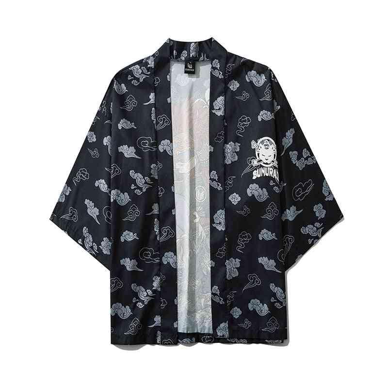 Cat Samurai Kimono Streetwear Cardigan Harajuku Anime Robe Anime Clothes