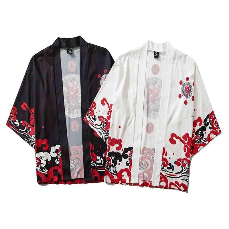 Japanese Thin Streetwear, Traditional Cardigan, Samurai Obi Kimono
