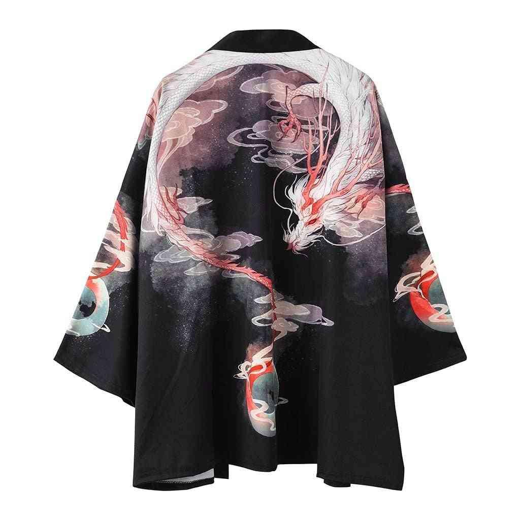 Summer Traditional Japanese, Loose Cardigan, Samurai Kimonos, Women