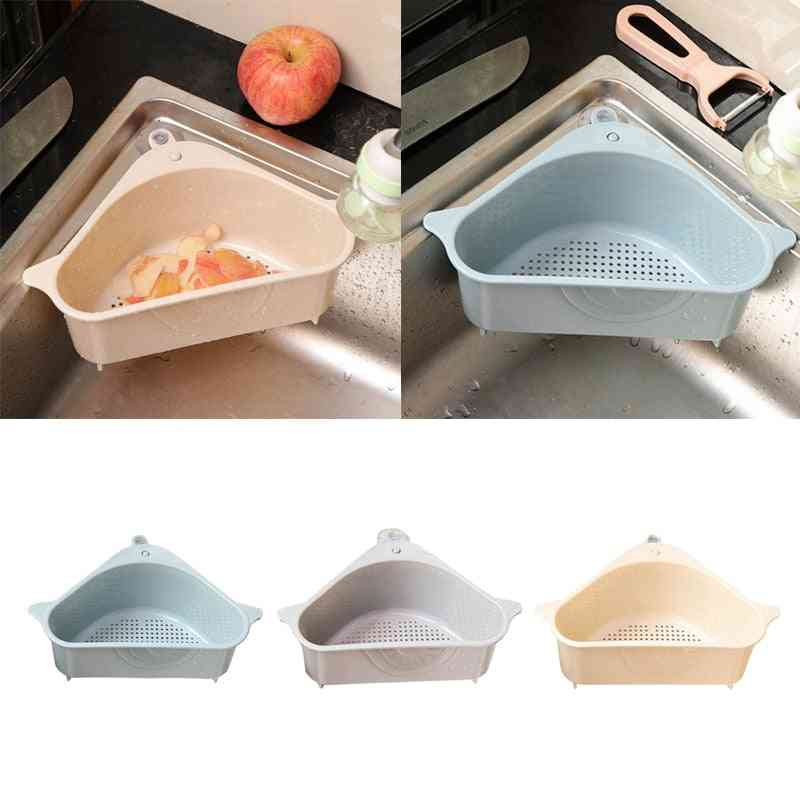 Multifunctional Corner Sink Drain - Sponge Holder Basket / Rack