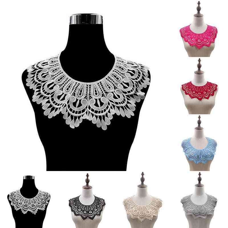 Embroidered Applique Patch Neckline, Floral Lace Collar