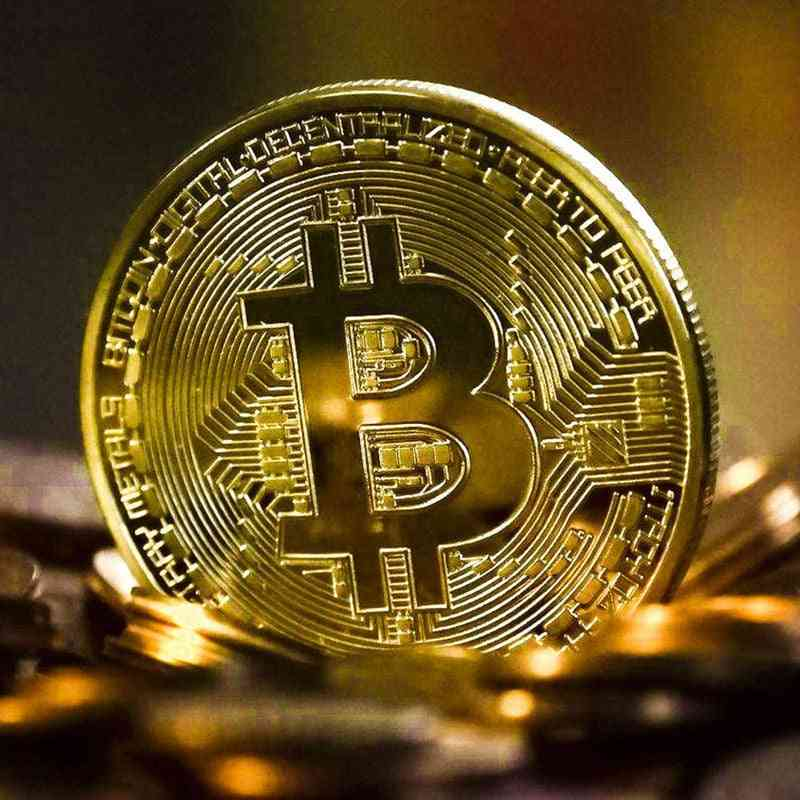 Gold Plated Bitcoin Coin, Collectible Art Collection