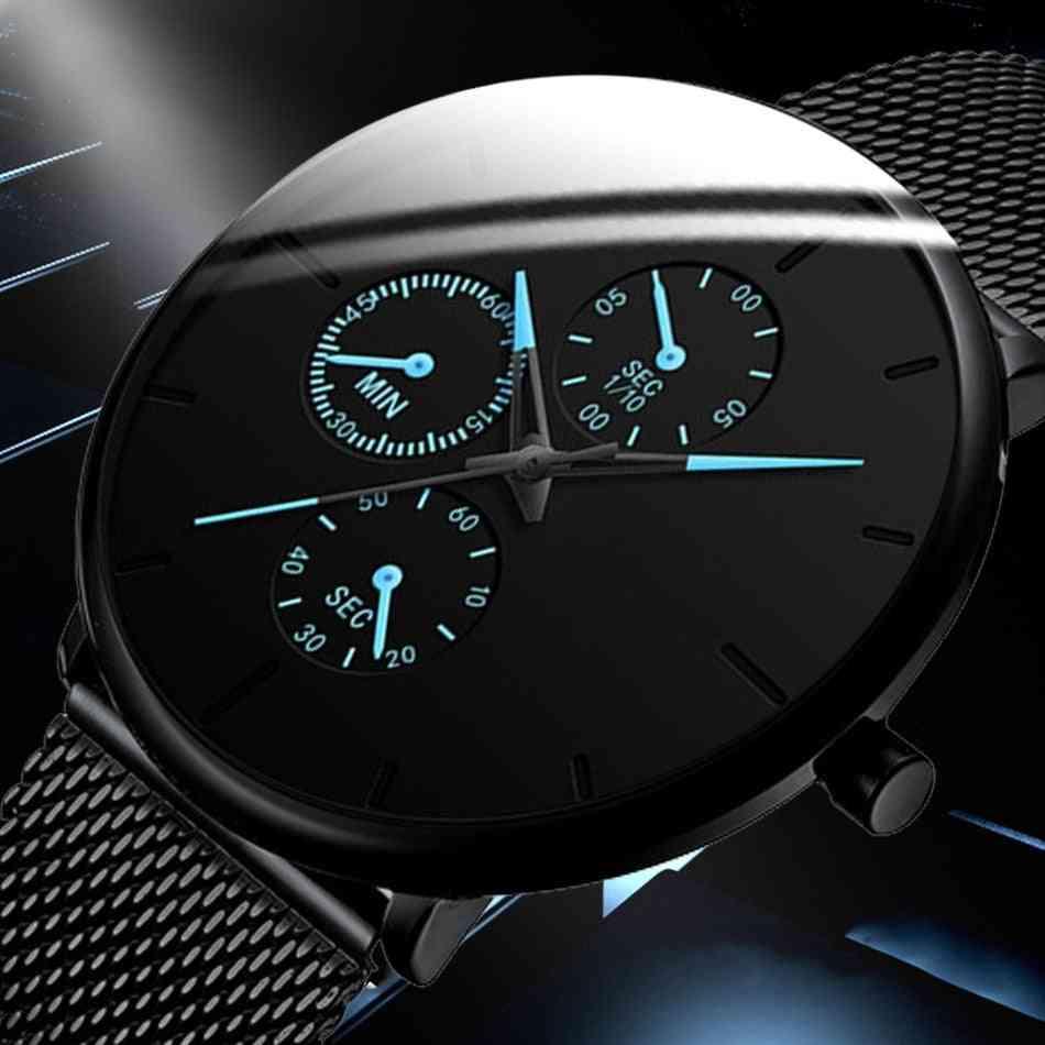 Men Watches,  Quartz Casual Slim Mesh Steel Waterproof Designer Male Clock