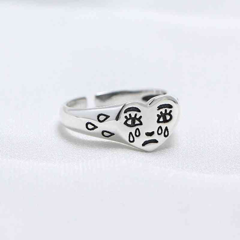 New Trendy Fashion Female Resizable Jewelry Ladies Creative Cry Face Rings For Women (resizable Silver)