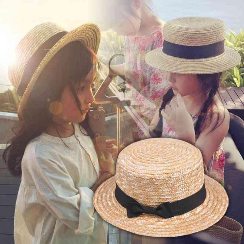 Cute Straw & Bowknot Sun Hat, Ribbon Round Flat Fedora Hats