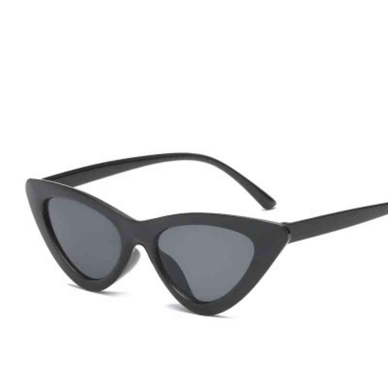 Cute Sexy Retro Cat Eye Sunglasses, Small Black Transparent/pink Triangle Vintage Cheap Sun Glasses