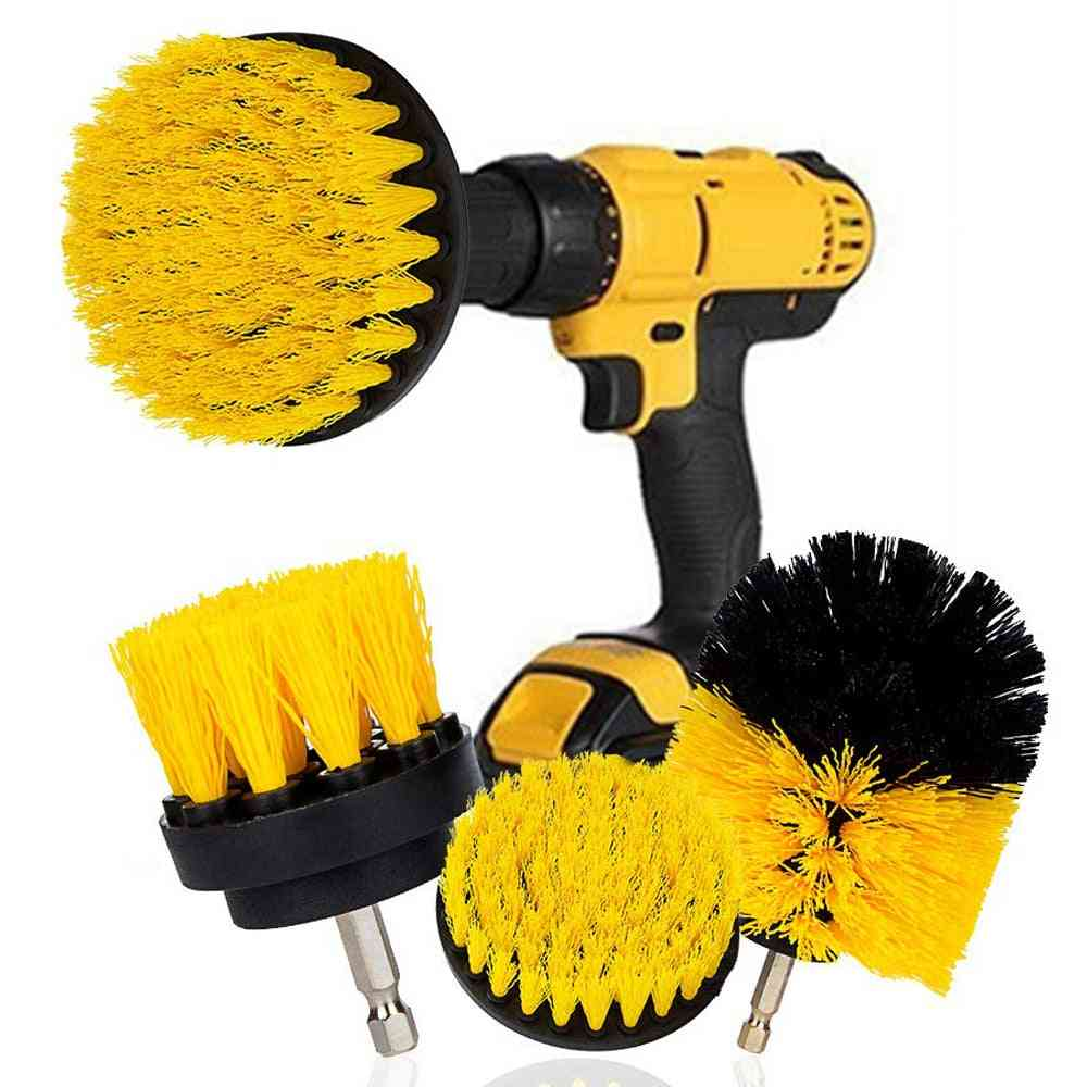 Electric Scrubber Brush, Drill Kit Plastic Round Cleaning For Carpet, Glass & Car Tires