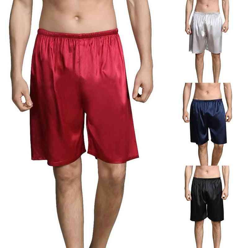 Summer Sleep Bottoms Men Sleepwear Silk Satin Pajama Homewear Shorts