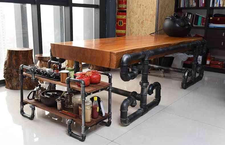 Solid Wood Table Made Of Pipe And Valve Loft Industrial Vintage Pipe Boss Table Conference Tables-j004