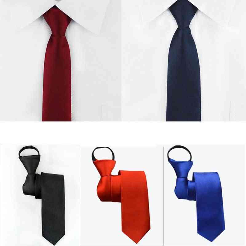 Pre-tied Neck Tie Mens Skinny Zipper Ties, Solid Color Slim Narrow Bridegroom Party Dress Necktie