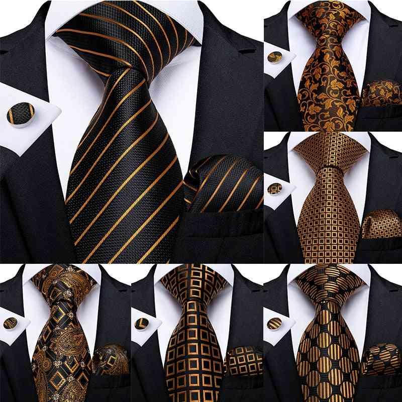 Luxury Striped Paisley Silk Wedding Tie Dibangu Designer Hanky Cufflinks Tie Set