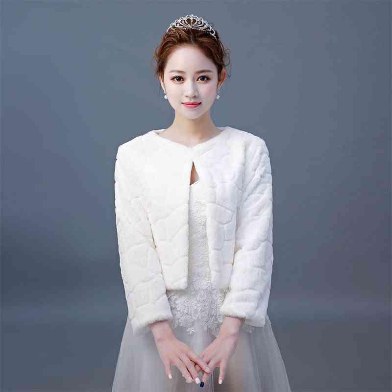 Women Winter 3/4 Length Sleeves, Bridal Fur Jacket