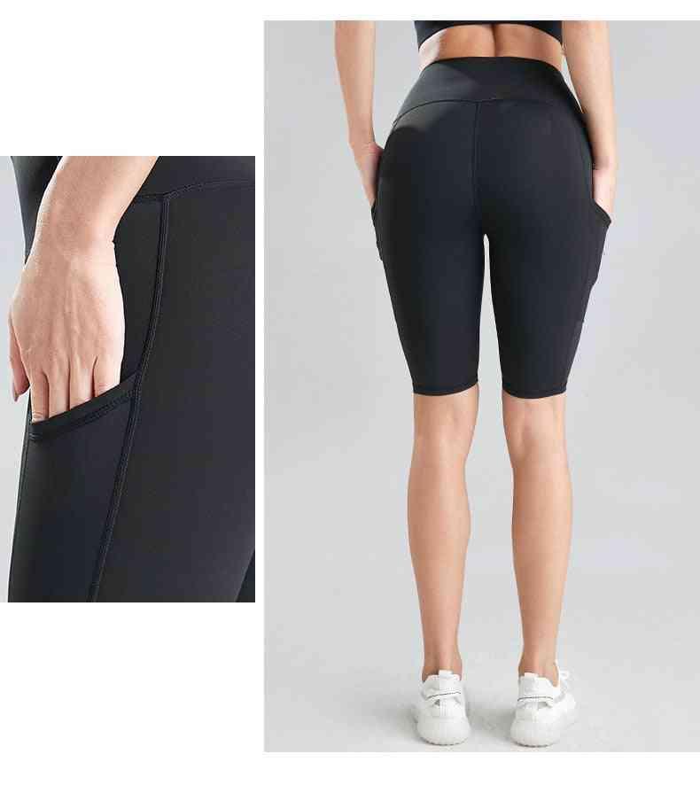 Women Cycling Running Fitness High Waist Push Up Hip Side Pocket Gym Shorts