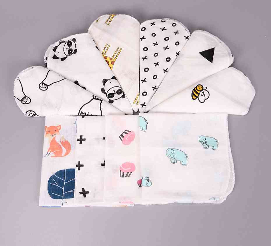 Baby Cotton Muslin Towel Handkerchiefs Two Layers Wipe Handkerchiefs 28x28cm