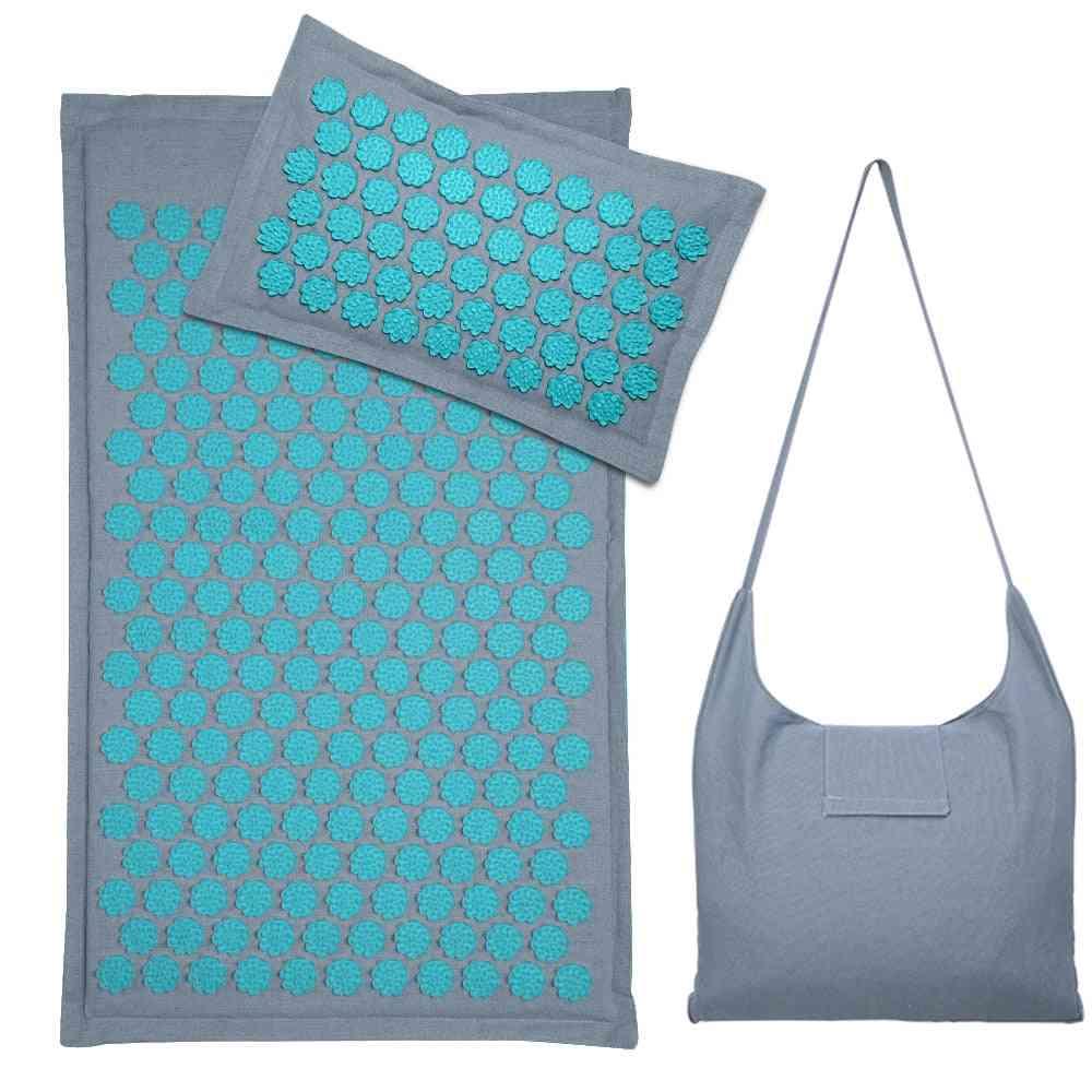 Nature Linen Lotus Spike Acupressure Yoga Pillow Mat With Bag
