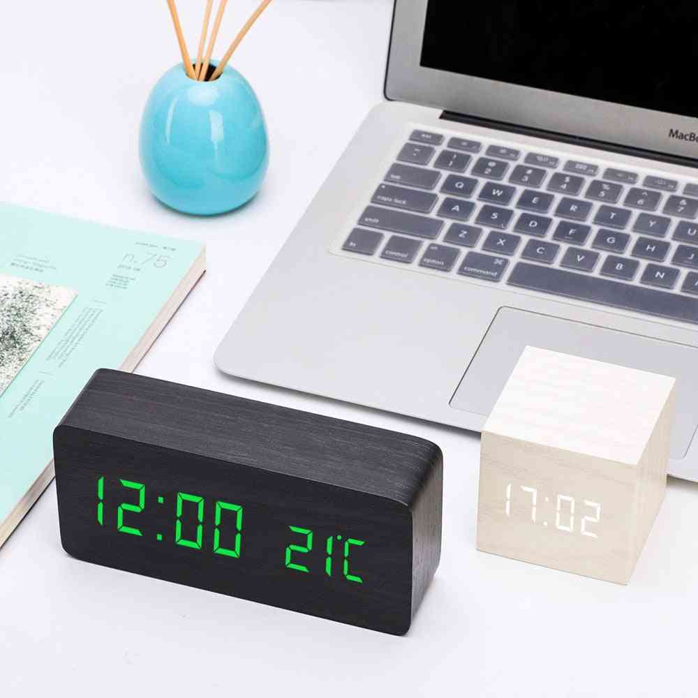 New Multicolor Led Wooden Alarm Watch Table Voice Control Digital Wood Electronic Clock