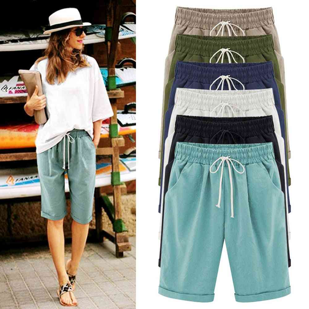 Summer- Cotton Linen, Casual Drawstring, Elastic Loose, Short Trousers