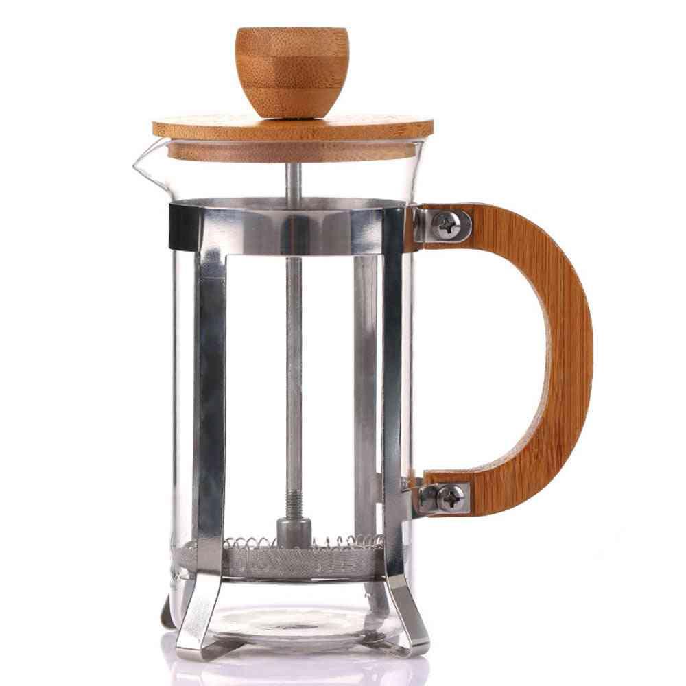 Filtration Coffee Maker Glass Pot 350ml Wooden Cover High Grade Elegant Durable Heat-resistant