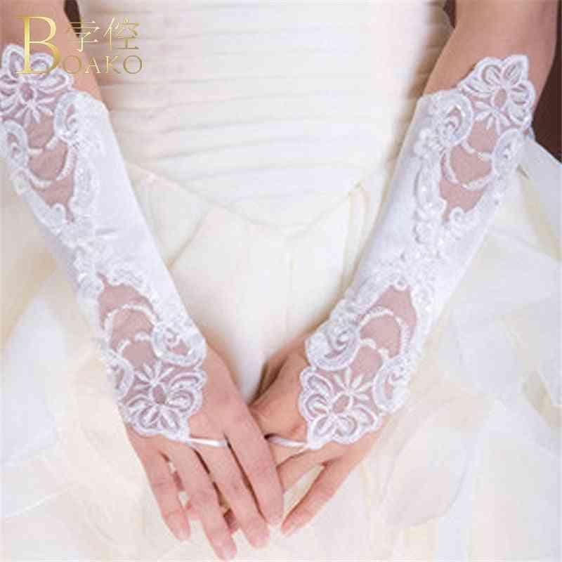 Wedding Gloves Women Fingerless Bridal Gloves Long Lace Gant Marriage Party