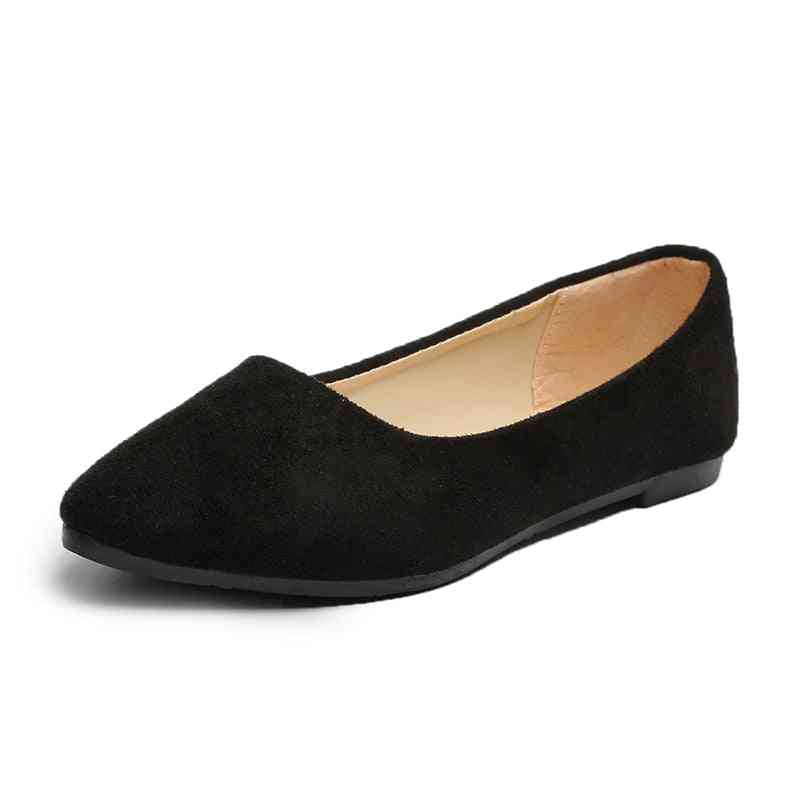 Lady Casual Flock Flats Shoes, Pointed Toe Slip On Boat Shoes,  Low Heel Shoes