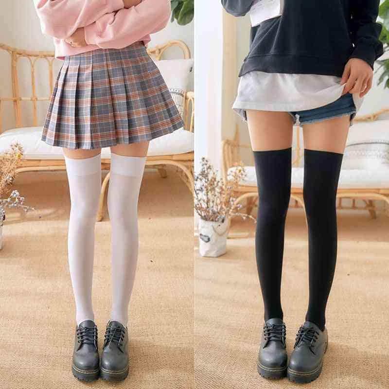 Mini Women Fashion School Student Socks Spring Summer Over Knee Thigh Elastic Stockings