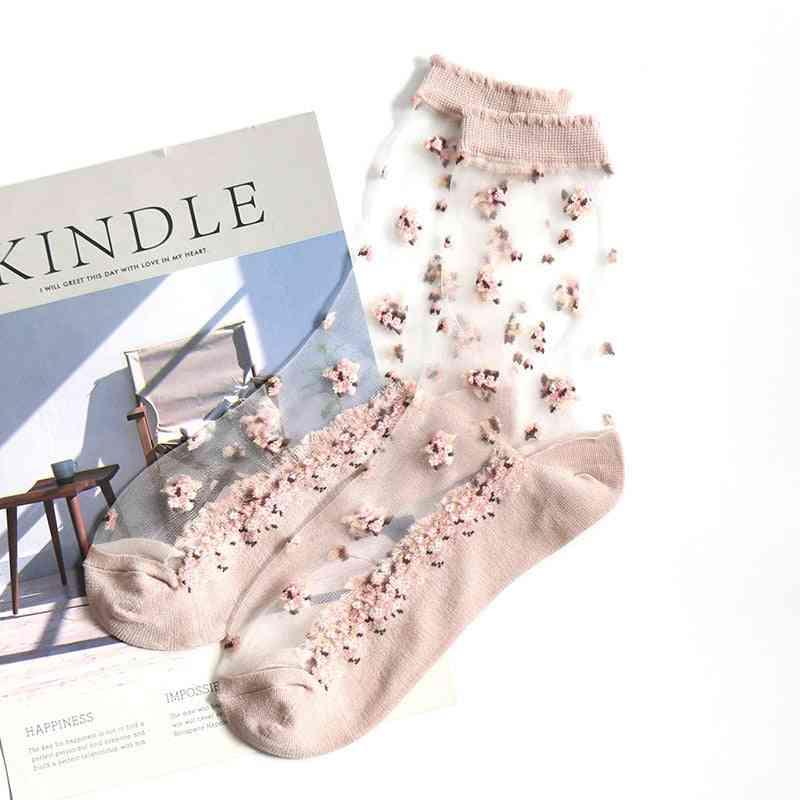 Summer Transparent Lace Crystal Flower, Ultra Thin Socks