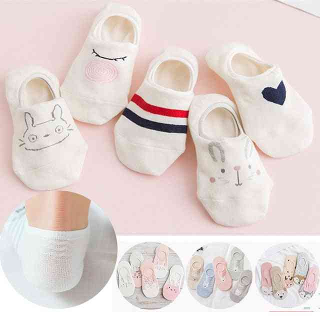 Arrival Women Socks Fruits Cute Happy Silicone Slip Invisible Cotton Printed Socking