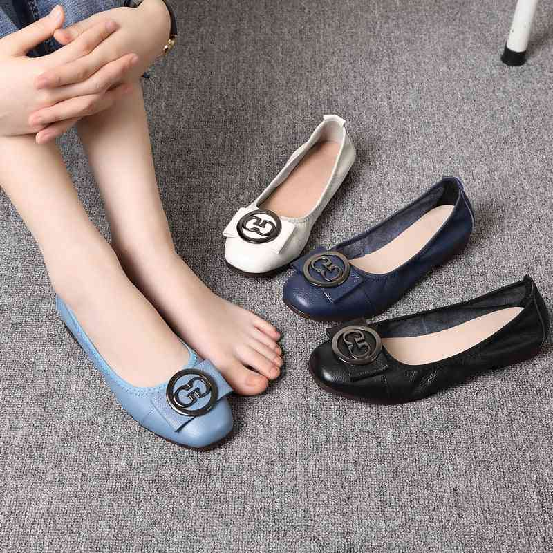 Autumn Women Ballet Flats Shoes, Genuine Leather & Metal Round Buckle / Square Toe Shoes, Soft/comfort