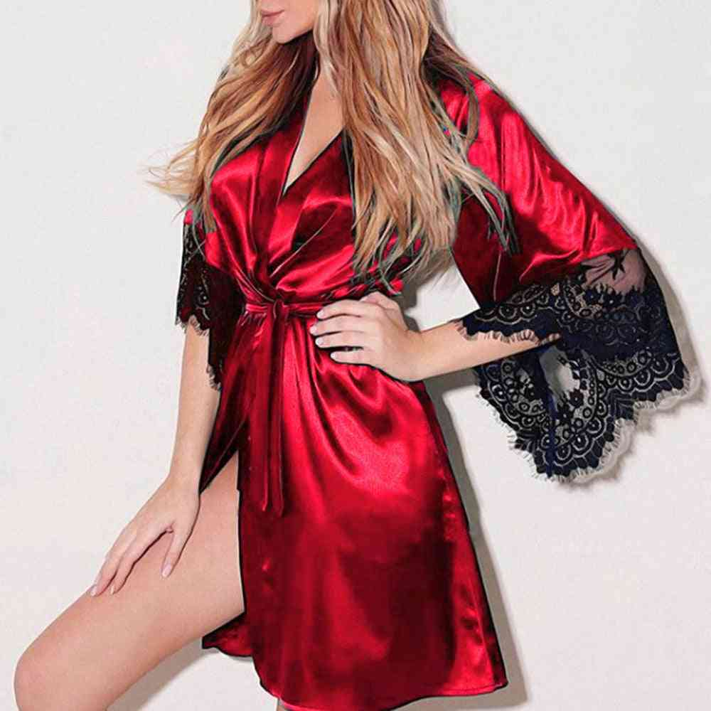 Women Silk Dress, Lace Lingerie Belt Robe Sleepwear Big Bathrobes