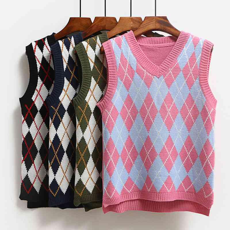 Knitted Vest, Casual Pullover Elasticity Sweater, Spring, Autumn Sleeveless V-neck Tank Tops