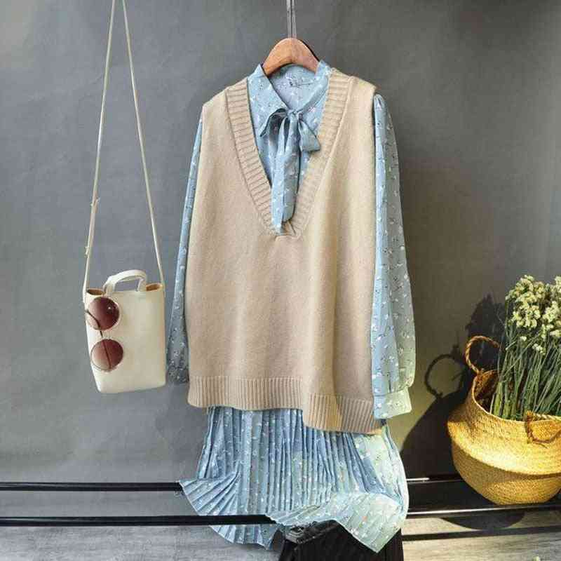 Vests, Solid V-neck Knitted, Simple Chic Daily Streetwear Vintage