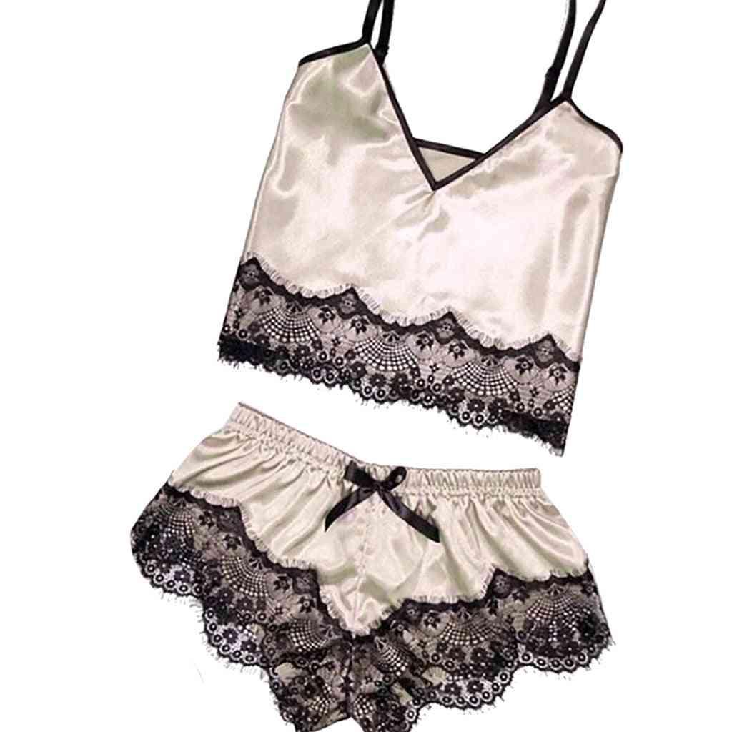 Pajamas Lace Silk Set Clothing Straps Bathrobe Sleepwear Lingerie