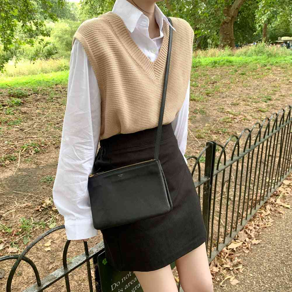 Solid Loose Sweater, Spring, Autumn Women's Vest Knitted V Neck, Winter Outerwear Plus Size