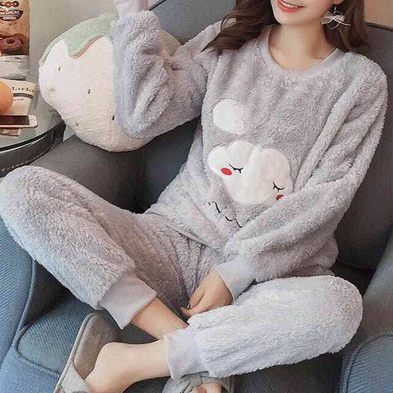 Pajama Thick Flannel Warm Winter Set Long Sleeve Full Trousers