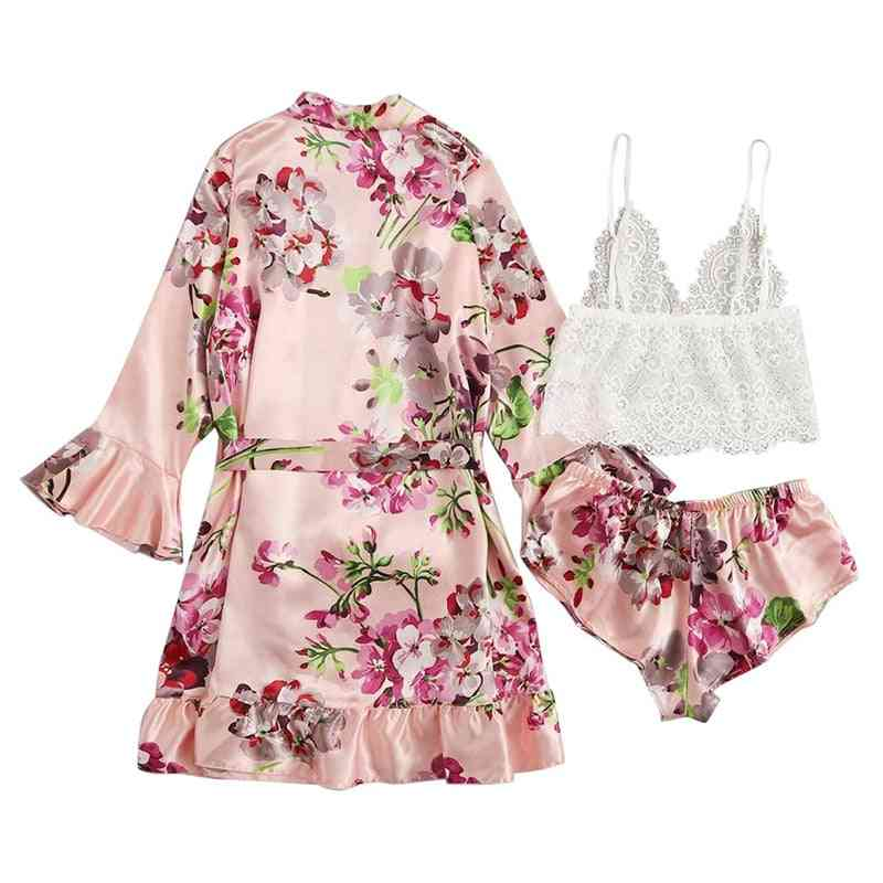 Pajamas, Long Sleeve Sexy Lace Lingerie Nightwear Suit