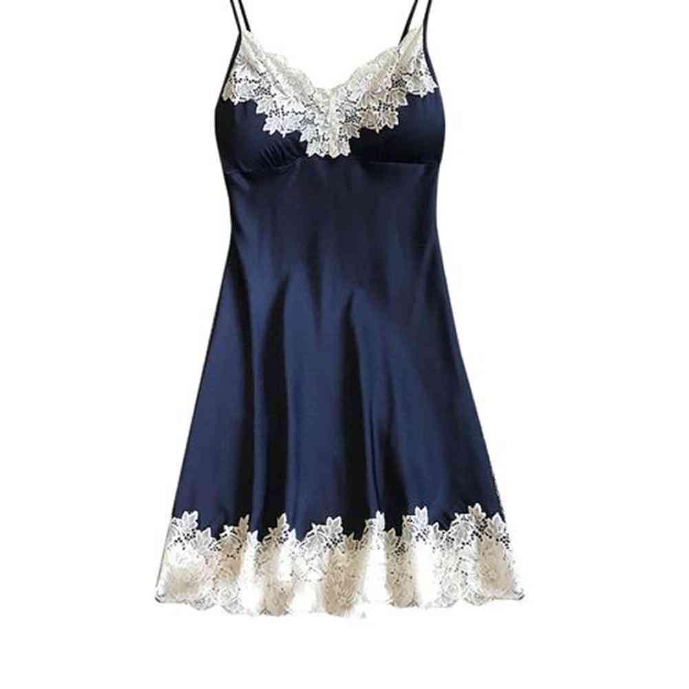 Women Fashionable Soft Padded, V-neck, Lace Strappy Underwear Nightdress