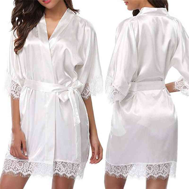Short Satin Bride Robe Wedding Dressing Gown Lace Silk Summer Bridesmaid Nightwear