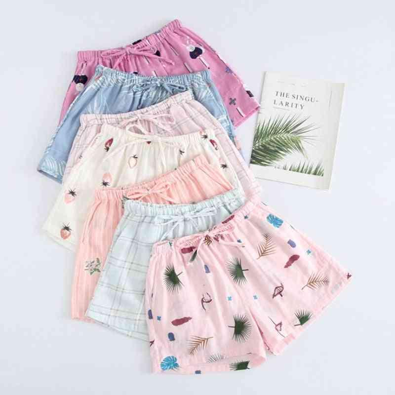 Women Sleep Short Pants, Cotton Pajamas Summer Beach Bottoms Lounge Sleepwear