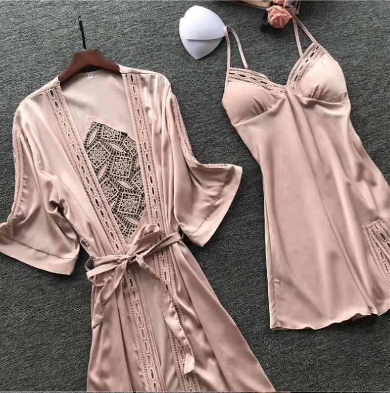 Women Satin Lace Intimate Sleepwear Set Nightgown, Robe Brides Gown