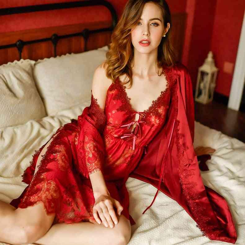 Summer Elegant Women Sling Lace Nightgown, Bride Bathrobe Morning Gown
