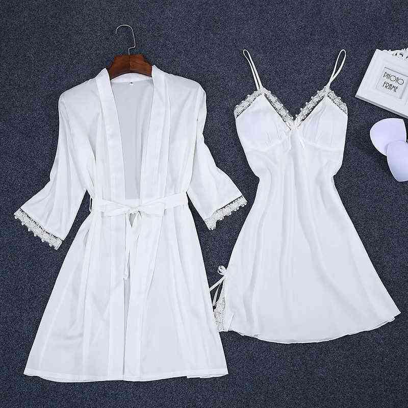 Summer Women Robe Bath Gown & Strap Top Pajamas Sets