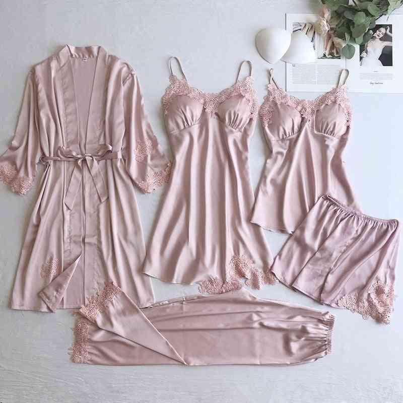 Women Lace Wear Sleep Set, Silky Solid Suit Nightgown