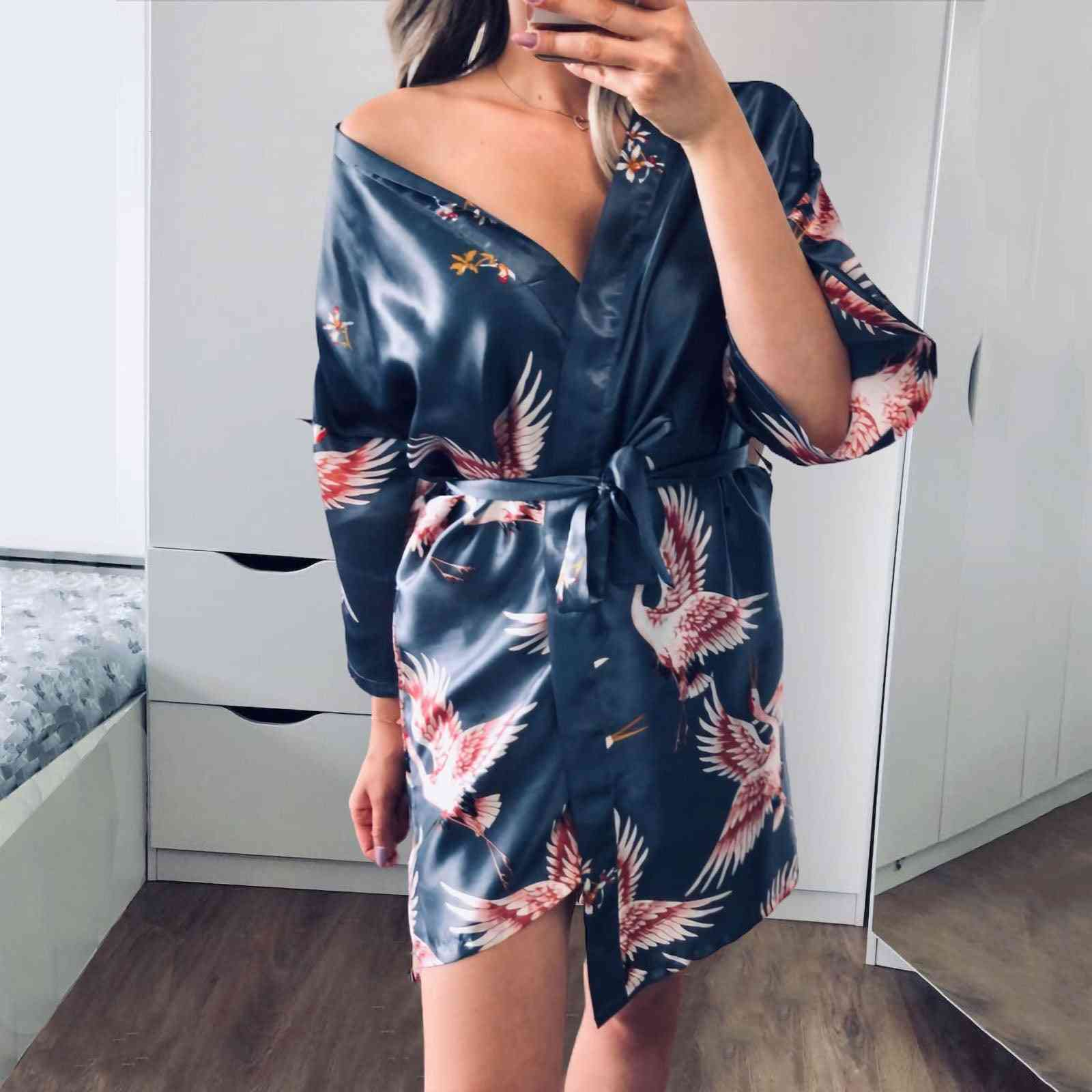 Flower Silk Nightgown, Print Sleeve Pajamas Bathrobe Dressing Sleepwear