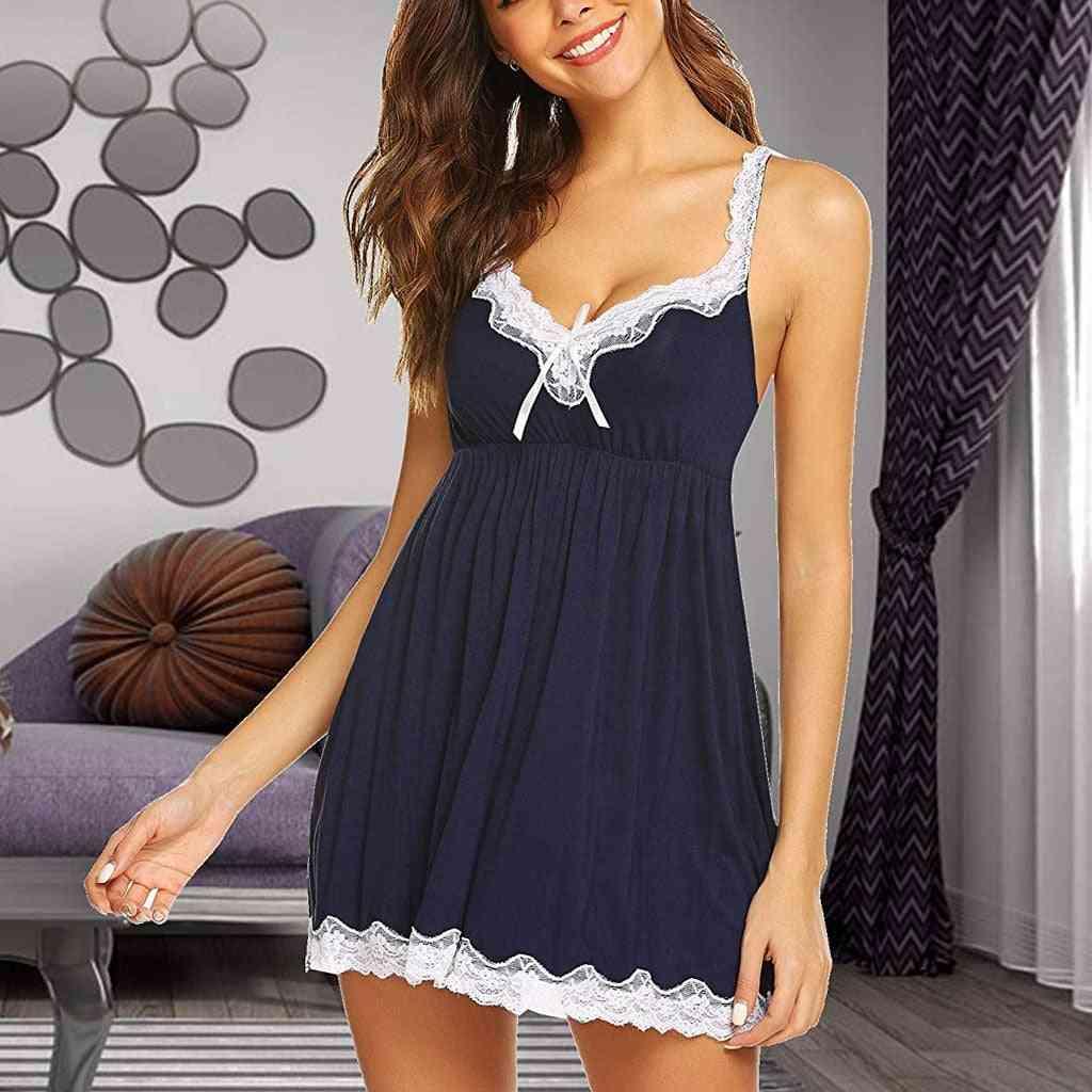 Summer- Sleepshirts V-neck Lace, Lingerie Bow Robe, Nightgowns Set