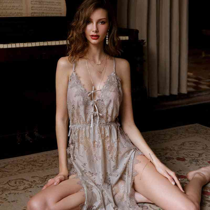 Floral Hollowed Out Lace Nightgown