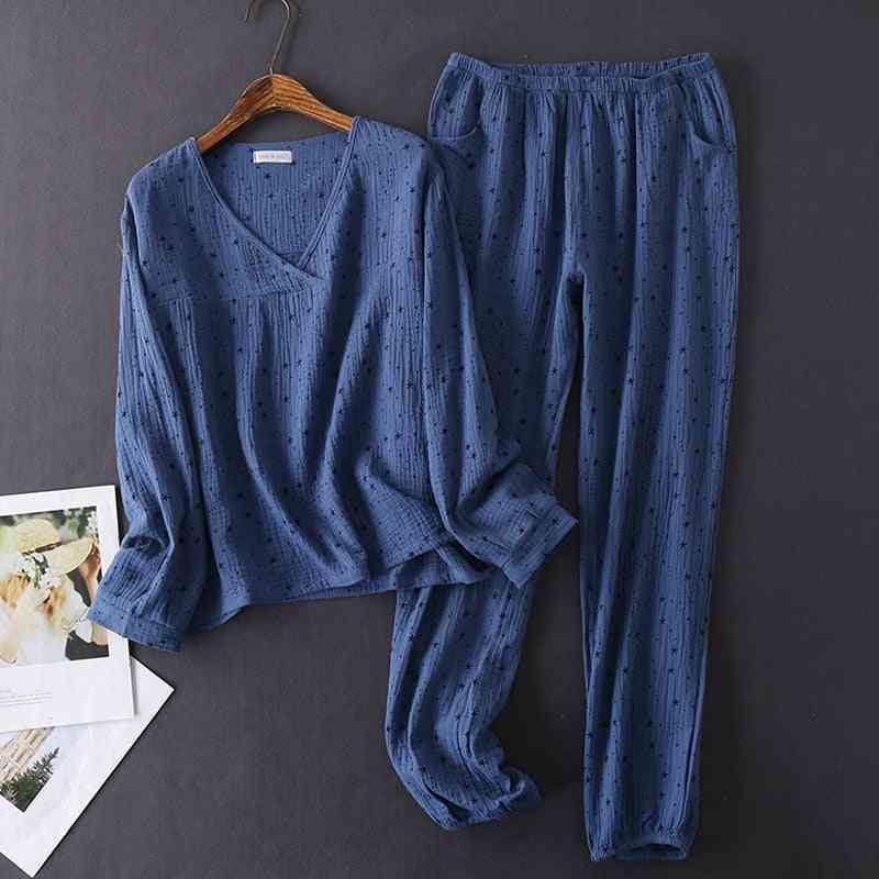 Cotton V-neck, Texture Crepe, Long-sleeved, Pajamas Trousers