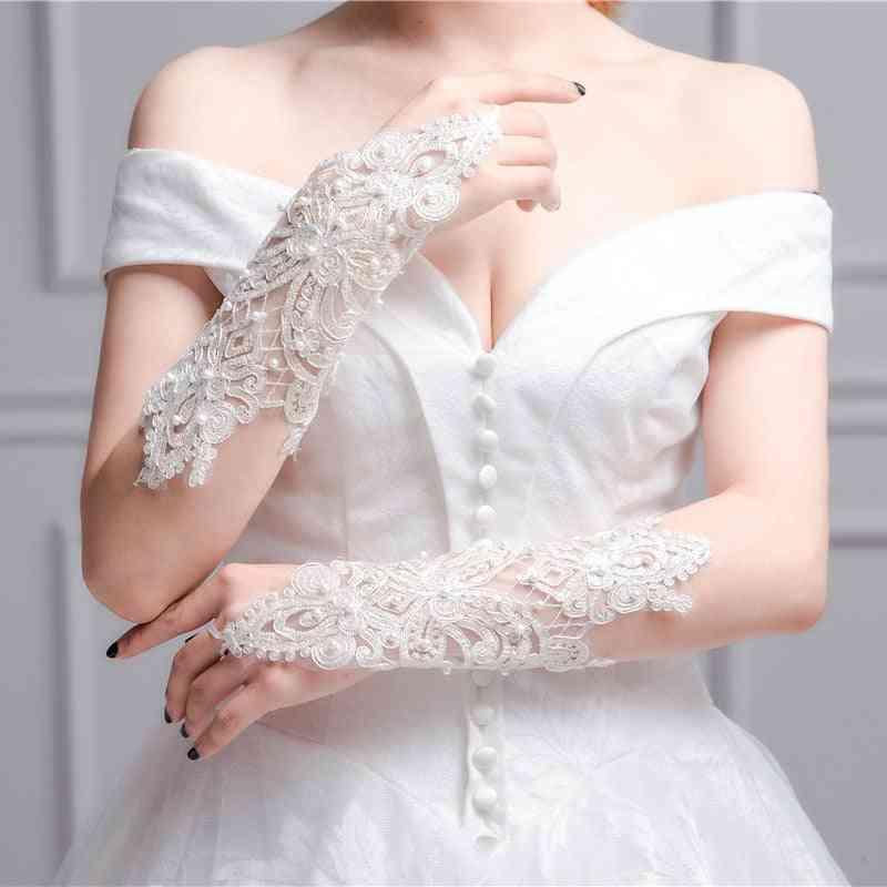 Women Fingerless Bridal Elegant Short Rhinestone Lace Glove Wedding Accessories