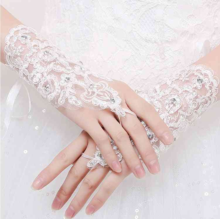 Short Women Fingerless Bridal Gloves Elegant Short Wedding Accessories