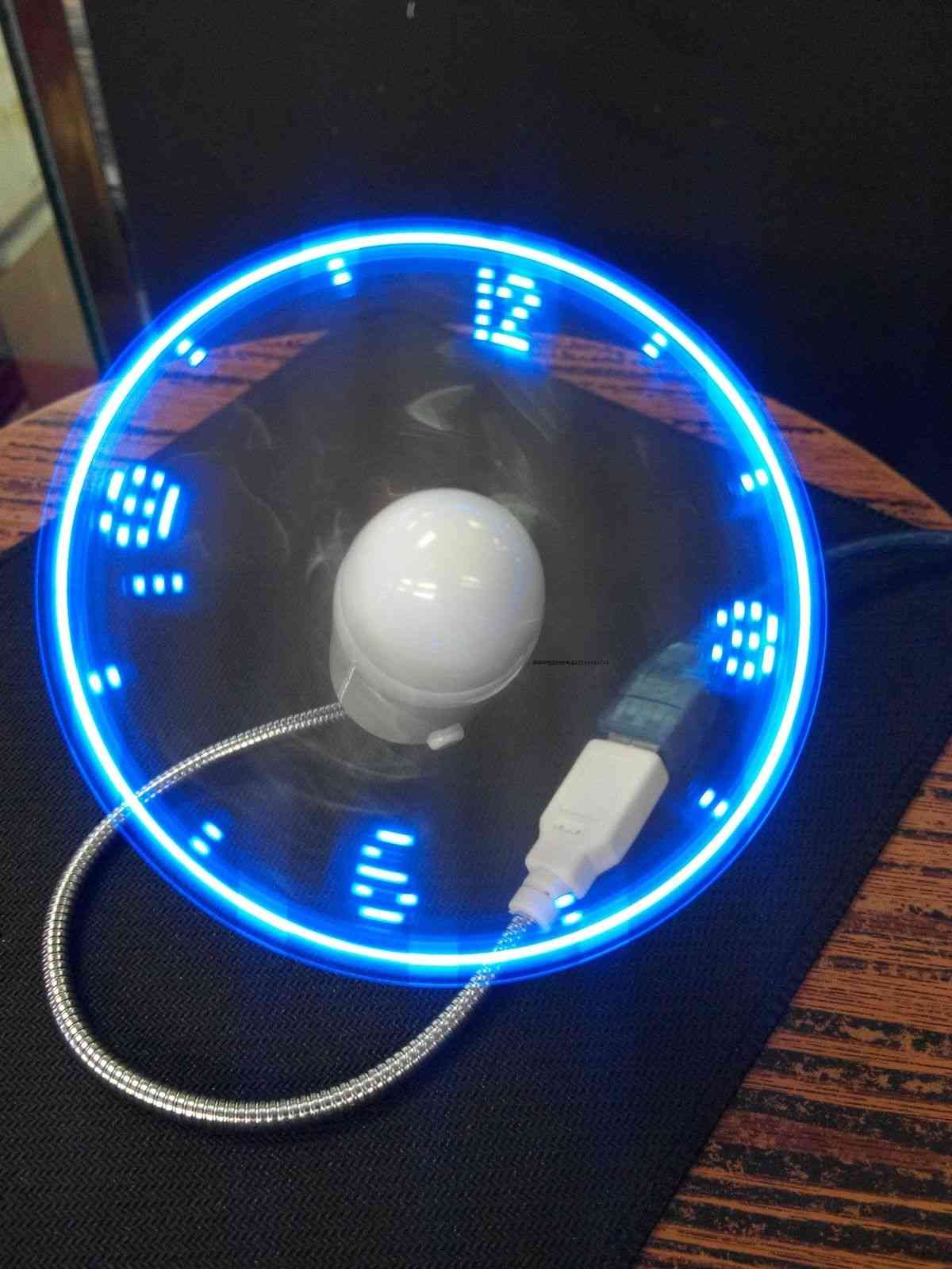 Mini Flexible, Adjustable Led Light, Usb Fan, Time Clock (blue)